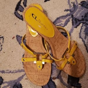 CL by Laundry yellow sandals sz9M worn 2-3 times